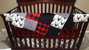 gallant baby boy crib bedding buck deer lodge red buffalo check and khaki il full tan