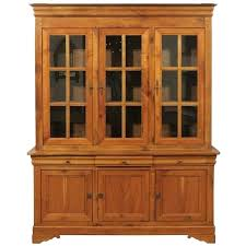 french cherry wood two part cabinet with inset glass doors and drawers for winsome cd