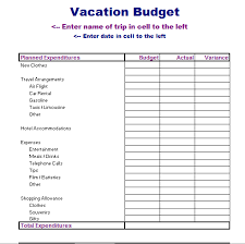vacation budget template vacation budget template excel xlsx formated