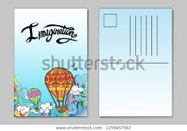 Create Postcard In Word Vector Template Postcard Airballoons Word Imagination Stock