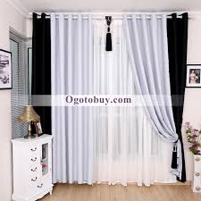 Modern White and Black Bedroom Solid Room Darkening Curtains, Buy ...