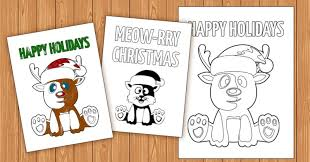 Card making, christmas crafts, folded notecard printable. Free Printable Color In Holiday Cards For Kids Moms And Crafters