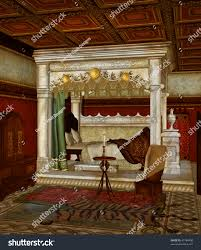 Fantasy bed chamber with a table and a candle