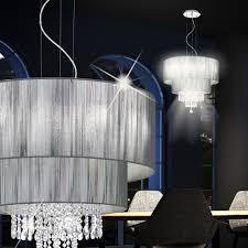 Design Kronleuchter Stoff Schirm Kristall ø74cm Esstisch Esszimmer