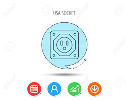 Usa Socket Icon Electricity Power Adapter Sign Calendar User