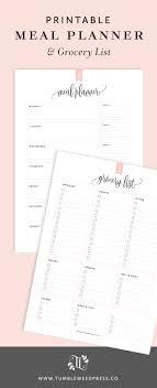 Printable Meal Planner & Grocery List | Tumbleweed Press