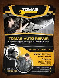 Auto Repair Flyer Serious Bold Car Repair Flyer Design For Tomas Auto Repair