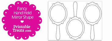 fancy hand mirror drawing. printable fancy hand mirror shape template drawing