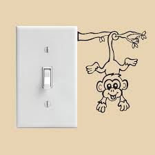monkey light switch decal or wall decal by steeleinspired on