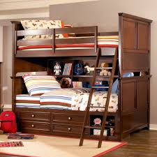 brown polished wooden bunk bed having brown wooden ladder and ...