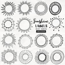 Labels With Border Sunshine Labels Circle Border Clipart Round Border Graphics Printable Text Box For Stationery Invitations Easter Cards Summer