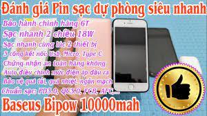 Đánh giá Pin sạc dự phòng siêu nhanh Baseus Bipow 10000mah - Sạc nhanh 2  chiều 18W - Nhiều chức năng - YouTube