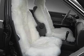 white sheepskin seat covers