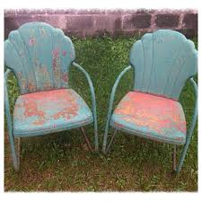 image of old vintage metal lawn chairs