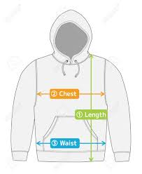 Hoodie Size Chart Hoodie Hooded Sweatshirt Illustration For Size Chart English