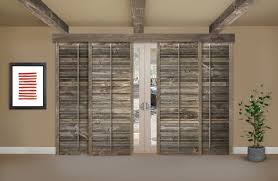 reclaimed wood shutters on a sliding glass door in chicago