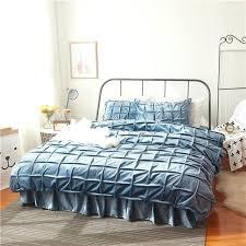 plaid flannel duvet winter fleece warm bedding set manual plaid flannel duvet cover set bed skirt