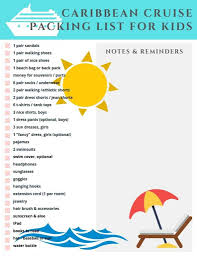 7 Day Cruise Packing List Caribbean Cruise Packing List For Kids A Dash Of Sanity