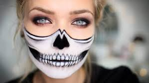 half face skull makeup for