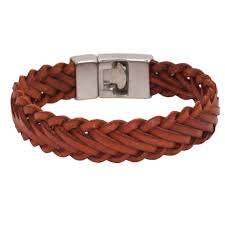 diagonal braid brown leather bracelet 0