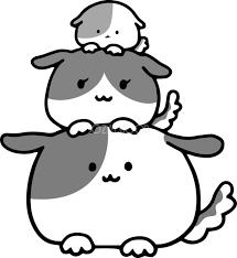 鏡餅3段重 かわいい白黒の犬イラスト無料82854 素材good