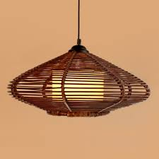 Living Room Pendant Lighting New Brown Handmade Modern Rattan Pendant Light Fixture Lamp Study