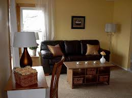 Modern Living Room With Brown Leather Sofa Beige Carpet Living Room Living Room Design Ideas