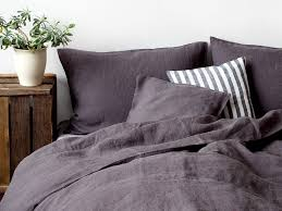washed linen bed set dark grey bedding set by linen tales