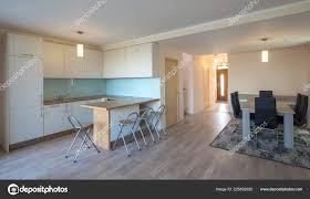Moderne Wohnlandschaft Einbauküche Im Haus Das Innere Des