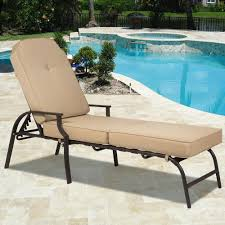 metal chaise lounge chairs. Best Choice Products Outdoor Chaise Lounge Chair W/ Cushion Pool Patio Furniture - Beige Metal Chairs S