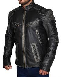 men vintage black cafe racer leather jacket