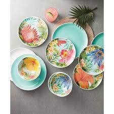 Melamine Dinnerware Designs Melamine Dinnerware Tropical Design Set Of 18 Pieces Blue