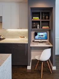 desk in kitchen design ideas. Beautiful Design A Contemporary Kitcen In Grey And White With Separated Office Nook  Built Inside Desk In Kitchen Design Ideas N