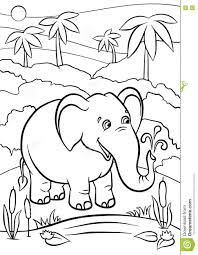 Coloring Pages Animals Cute Elephant Stock Vector Illustration