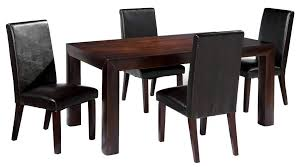 dining table chairs leather. birch wooden dining table with straight legs and four leather chairs