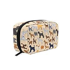 amazon makeup bag for portable cute cartoon dogs pattern traveling square cosmetic pouch kits toiletry bag beauty
