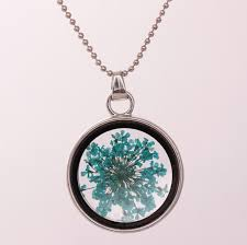 whole dried flower pendant necklace glass ball plant flower crystal long chain necklace gift collier dry flower plants jewelry glass necklace locket