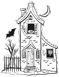 Small Picture Halloween colouring page Haunted house colouring page