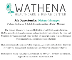 dietary manager job description dietary manager job opportunity at wathena healthcare rehab center