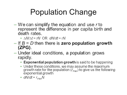 population change we can simplify the equation and use r to represent the difference in per 75 exponential growth exponential growth