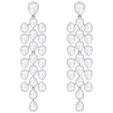 swarovski crystal lake pear chandelier pierced earrings rhodium plated 5368249
