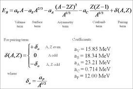 2 the semi empirical mass formula with coefficients 10 error determined experimentally 5