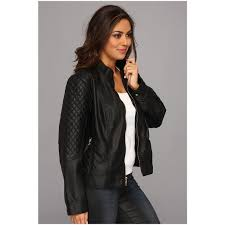 jessica simpson women s plus size quilted faux leather moto jacket with band collar