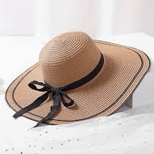 Loading zoom Big Brim Hat Floppy Foldable Straw Summer Beach with bowknot
