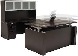 adjule height u shaped executive office desk w hutch in mocha shape idea 11