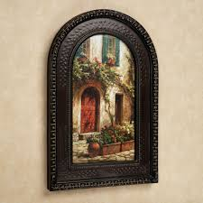 touch to zoom on italian wall art prints with red door italian scene arched framed wall art