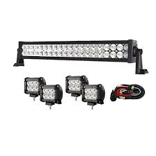 enk 20 inch 120w led work light bar flood spot combo beam led work light bar flood spot combo beam waterproof for jeep off road suv ford pickup camper boat truck 4 pcs 4 inch 18w pods and wiring harness