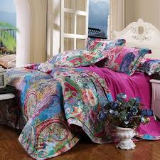 colorful and bohemian garden images peony blossom and western paisley pop print cotton satin full queen size beddingbedding setssatin