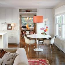 drum pendant lighting orange dining room