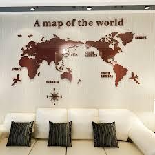 Creative World Map Acrylic Decorative 3d Wall Sticker For
